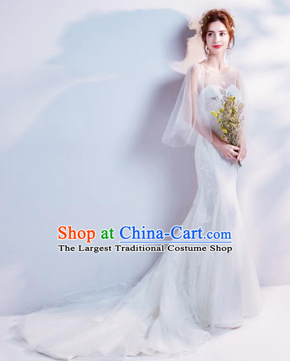Top Grade Handmade Wedding Costumes Wedding Gown Bride White Lace Mermaid Dress for Women