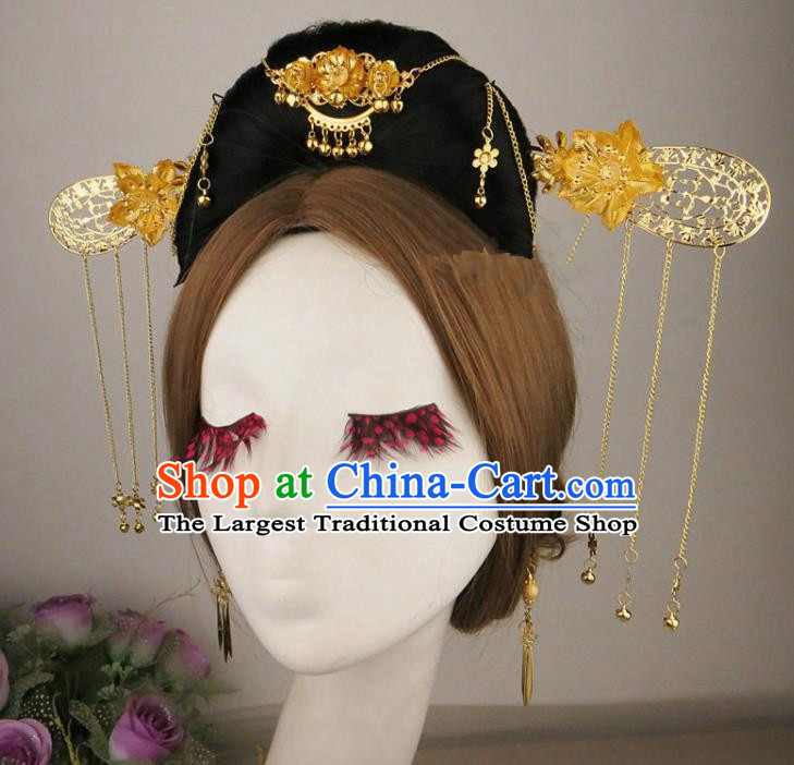 Chinese Traditional Wedding Hair Accessories Ancient Golden Hairpins for Women
