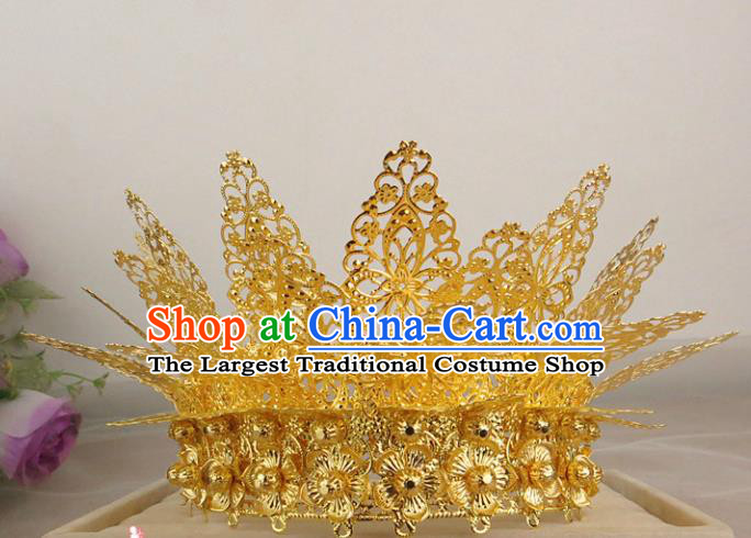 Chinese Traditional Bride Hair Accessories Ancient Golden Hair Coronet Hairpins for Women