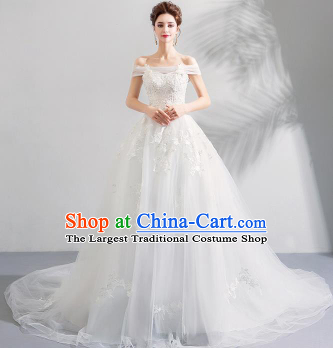 Top Grade Handmade Wedding Costumes Princess Wedding Gown Bride White Mullet Full Dress for Women