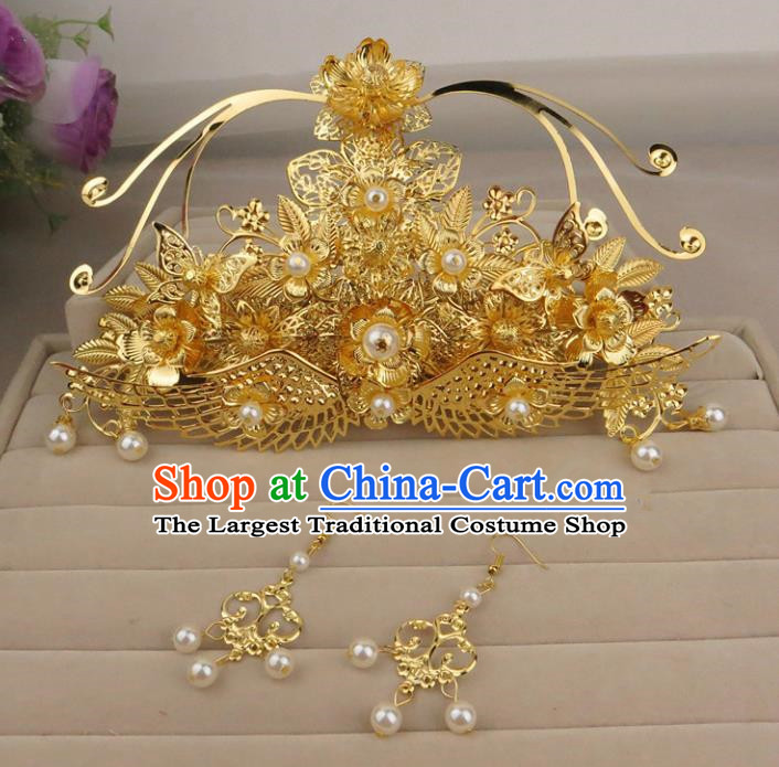 Chinese Traditional Xiuhe Suit Hair Accessories Phoenix Coronet Ancient Wedding Hairpins for Women