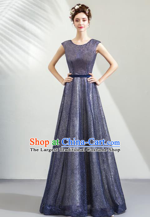 Top Grade Handmade Catwalks Costumes Compere Navy Full Dress for Women