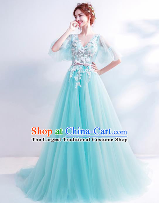 Top Grade Handmade Catwalks Costumes Compere Blue Lace Full Dress for Women