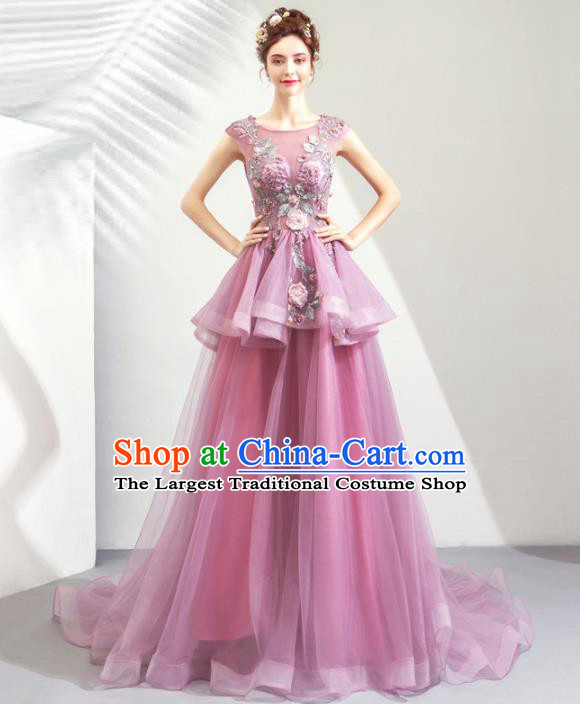 Top Grade Handmade Catwalks Costumes Compere Purple Veil Full Dress for Women