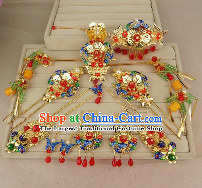 Chinese Traditional Xiuhe Suit Blueing Hair Accessories Phoenix Coronet Ancient Wedding Hairpins for Women