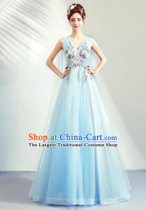 Top Grade Handmade Catwalks Costumes Compere Blue Veil Full Dress for Women