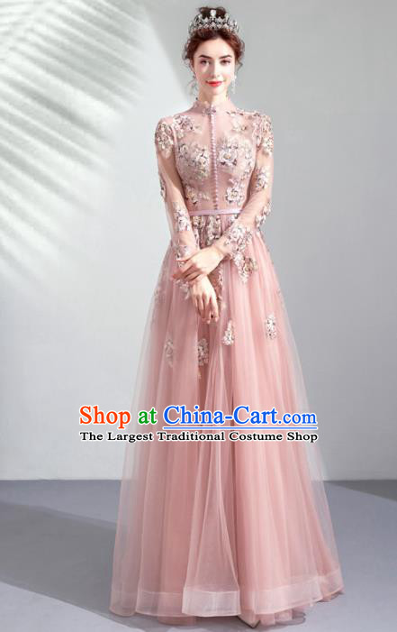 Top Grade Handmade Catwalks Costumes Compere Pink Veil Embroidered Full Dress for Women
