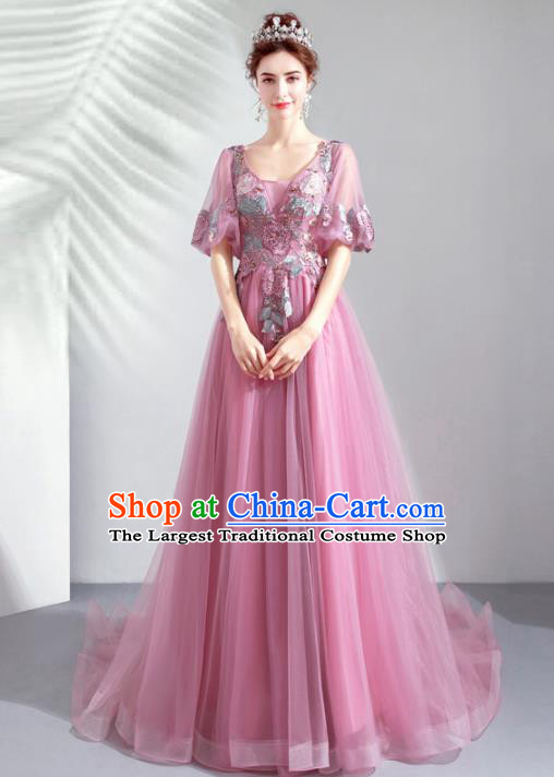 Top Grade Handmade Catwalks Costumes Compere Lilac Veil Full Dress for Women