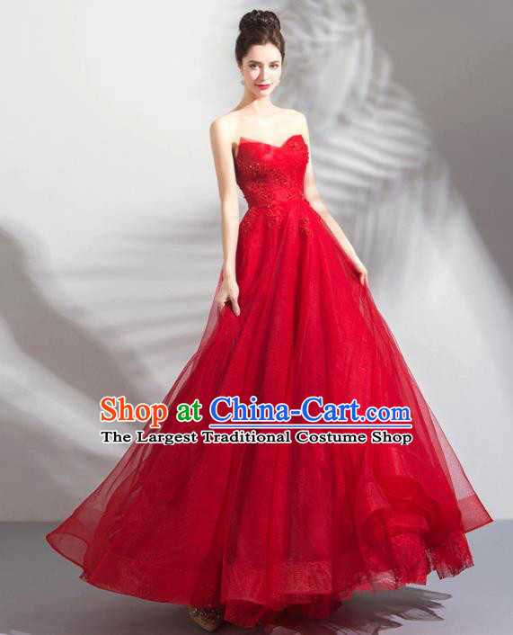 Top Grade Handmade Wedding Costumes Bride Red Veil Dress Princess Wedding Gown for Women