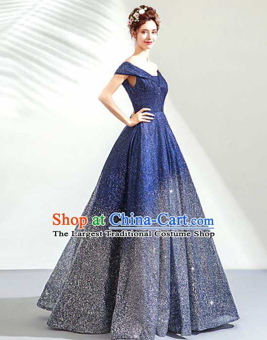 Top Grade Handmade Catwalks Costumes Compere Deep Blue Diamante Full Dress for Women