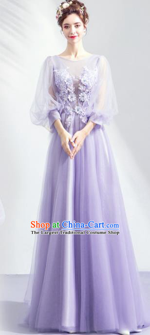 Top Grade Handmade Catwalks Costumes Compere Light Purple Veil Full Dress for Women