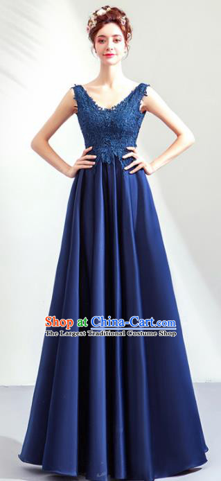Top Grade Handmade Catwalks Costumes Compere Royalblue Full Dress for Women