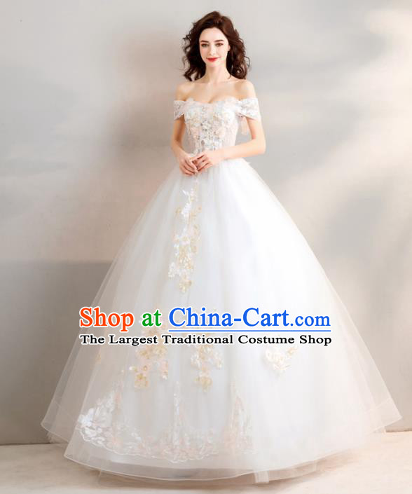 Top Grade Handmade Wedding Costumes Princess Wedding Gown Bride White Veil Full Dress for Women