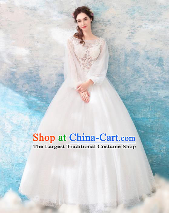 Top Grade Handmade Wedding Costumes Princess Wedding Gown Bride White Lace Full Dress for Women