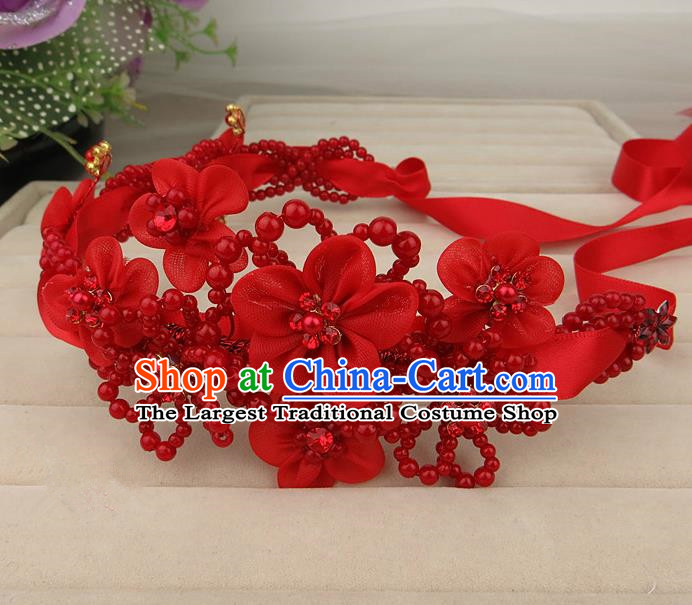 Chinese Traditional Xiuhe Suit Hair Accessories Wedding Red Beads Hair Clasp for Women