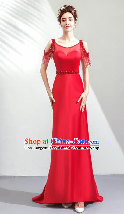 Top Grade Handmade Catwalks Costumes Compere Bride Red Full Dress for Women