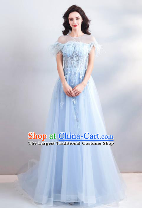 Top Grade Handmade Catwalks Costumes Compere Bride Blue Feather Full Dress for Women