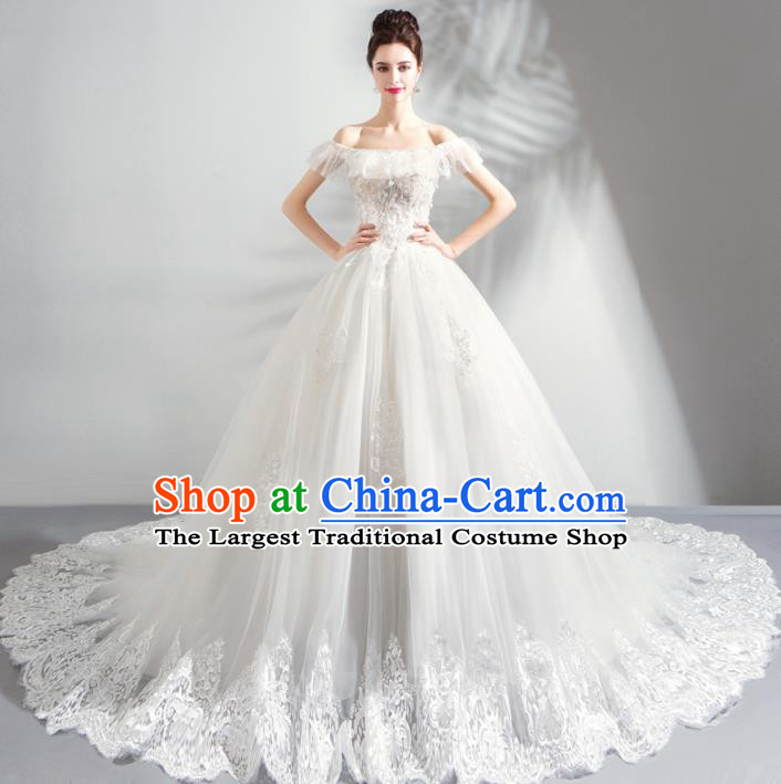 Top Grade Handmade Wedding Costumes Fancy Bride Veil Dress Princess Wedding Gown for Women