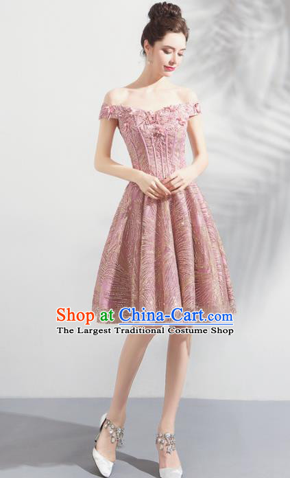 Top Grade Handmade Catwalks Costumes Compere Pink Lace Full Dress for Women
