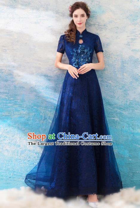 Chinese Traditional Blue Veil Cheongsam Embroidered Costume Compere Full Dress for Women