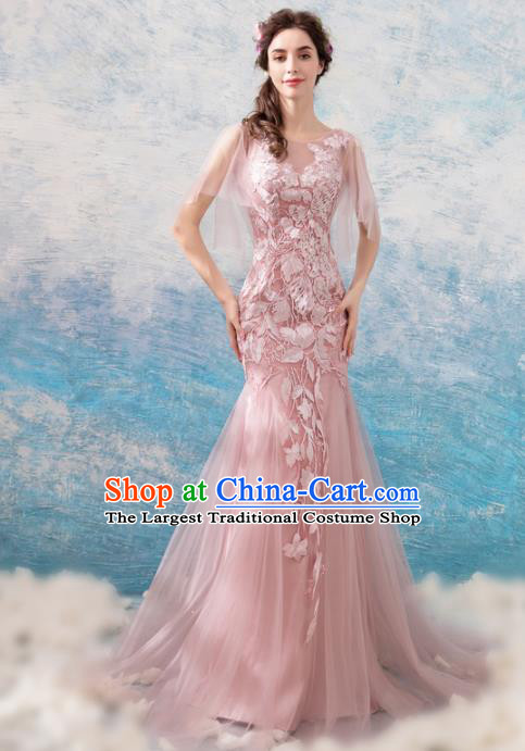 Top Grade Handmade Compere Costume Catwalks Pink Veil Mullet Formal Dress for Women