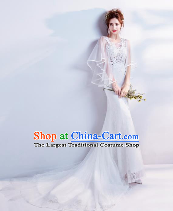 Top Grade Handmade Fancy Wedding Dress Princess White Lace Wedding Gown for Women