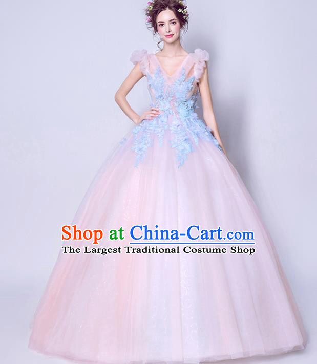 Top Grade Handmade Fancy Pink Wedding Dress Princess Wedding Gown for Women