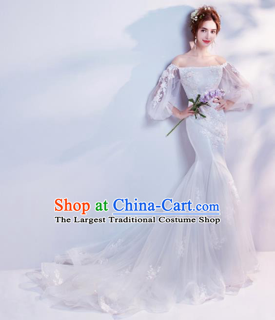 Top Grade Fancy Wedding Mermaid Dress Handmade Princess Wedding Gown for Women