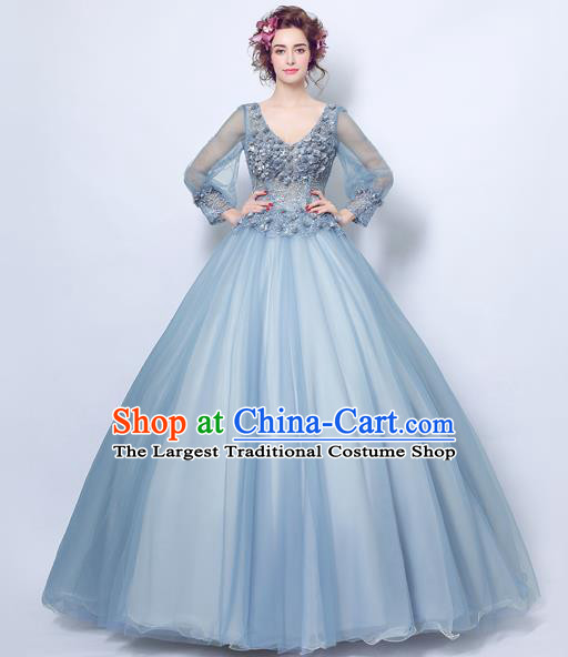 Top Grade Handmade Compere Costume Catwalks Blue Veil Formal Dress for Women