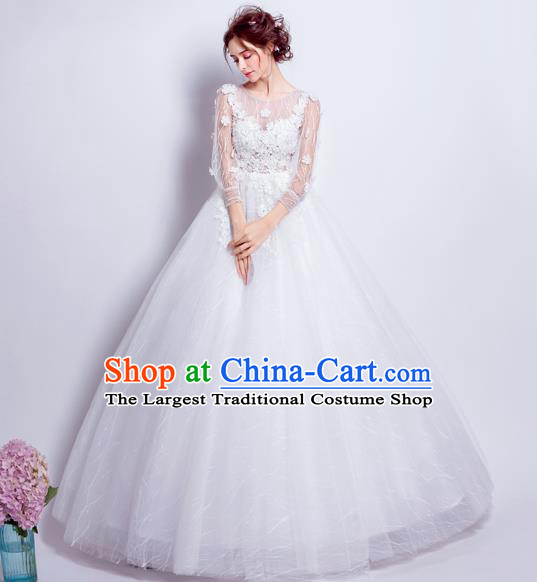Top Grade Fancy White Wedding Dress Handmade Princess Wedding Gown for Women