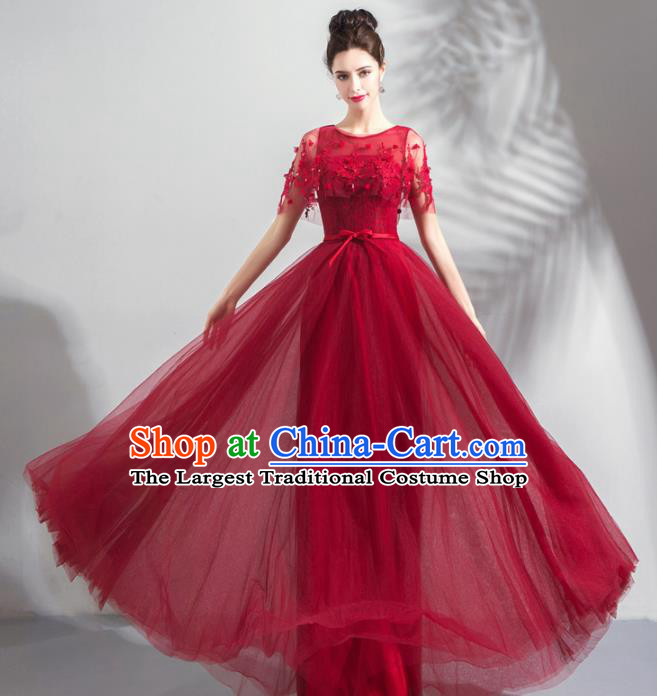 Top Grade Handmade Compere Wine Red Veil Costume Catwalks Formal Dress for Women