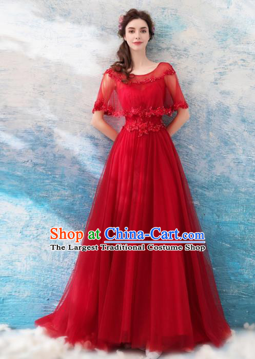 Top Grade Handmade Compere Red Veil Costume Catwalks Formal Dress for Women
