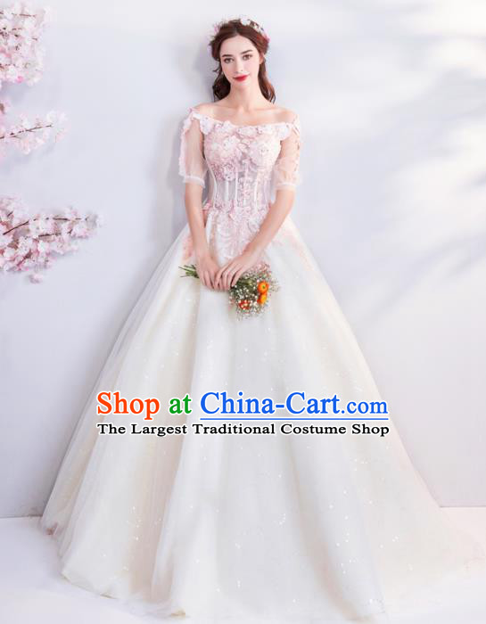 Top Grade Handmade Fancy Wedding Dress Princess Wedding Veil Gown for Women