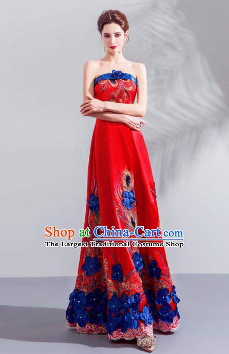 Top Grade Compere Embroidered Costume Handmade Catwalks Bride Red Formal Dress for Women