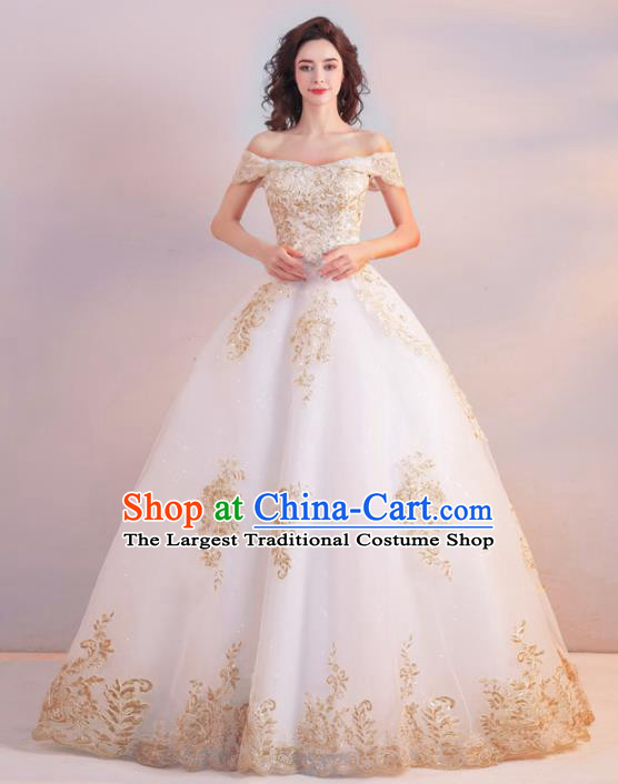 Handmade Top Grade Princess Embroidered Wedding Dress Fancy Wedding Gown for Women