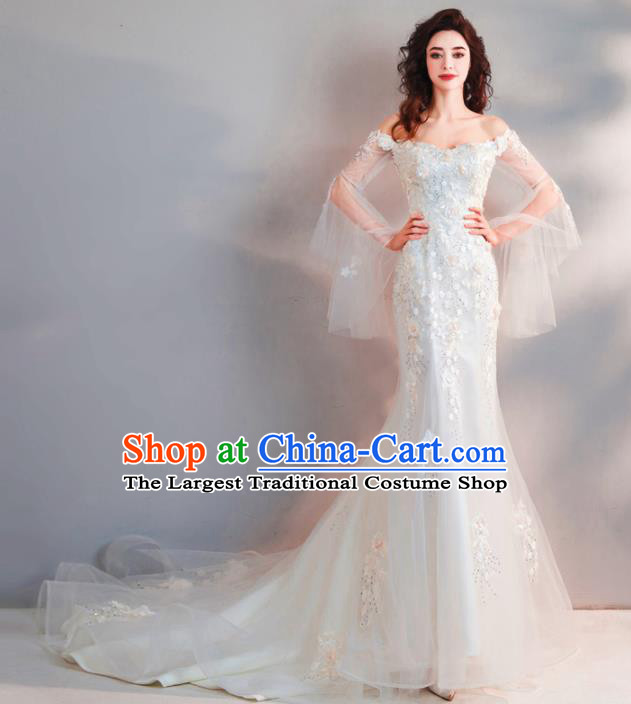 Handmade Top Grade Princess Embroidered Mermaid Wedding Dress Fancy Wedding Gown for Women