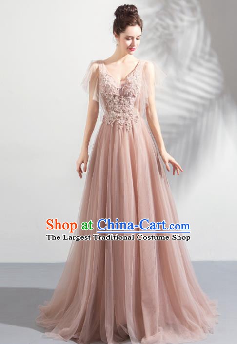 Top Grade Compere Embroidered Costume Handmade Catwalks Bride Formal Dress for Women