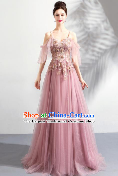 Top Grade Compere Embroidered Costume Handmade Catwalks Bride Pink Formal Dress for Women