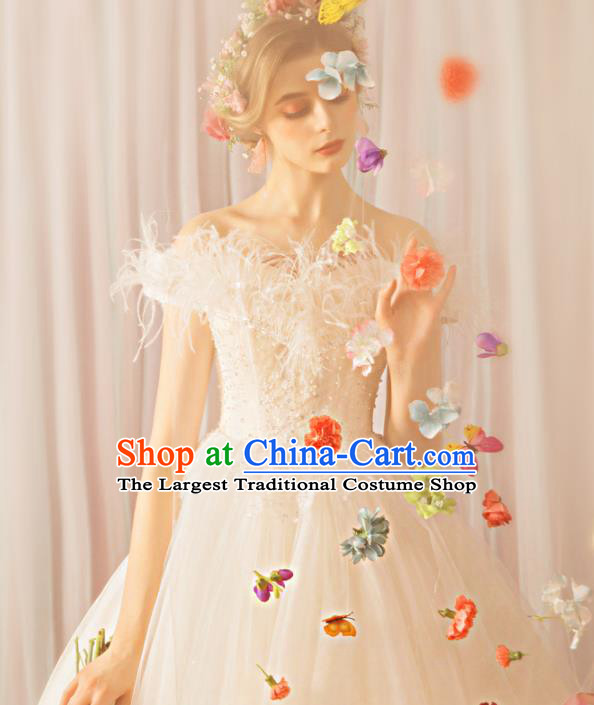 Top Grade Princess Wedding Dress Handmade Fancy White Feather Wedding Gown for Women