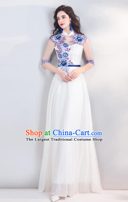 Chinese Traditional White Cheongsam Wedding Bride Costume Compere Full Dress for Women