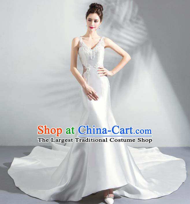 Handmade Top Grade Princess White Satin Wedding Dress Fancy Wedding Gown for Women