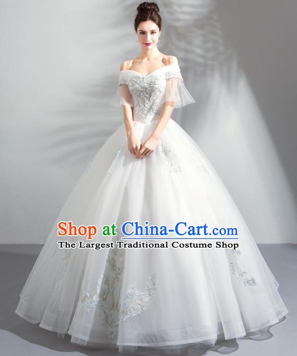 Handmade Top Grade Princess Flat Shouders Wedding Dress Fancy Wedding Gown for Women