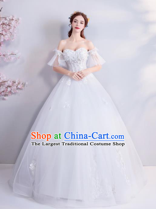 Top Grade Princess Flat Shouders Wedding Dress Handmade Fancy White Wedding Gown for Women