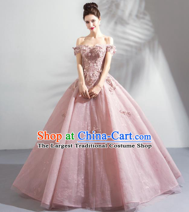 Handmade Top Grade Princess Embroidered Pink Wedding Dress Fancy Wedding Gown for Women