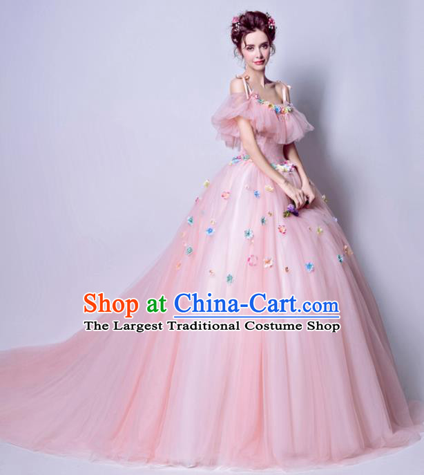 Top Grade Princess Pink Flat Shouders Wedding Dress Handmade Fancy Wedding Gown for Women