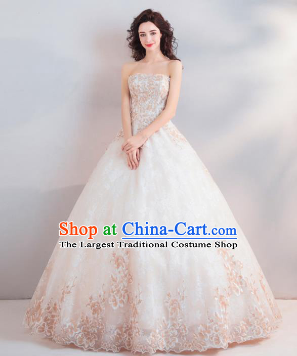 Handmade Top Grade Princess Strapless Wedding Dress Fancy Embroidered Wedding Gown for Women