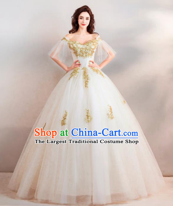 Handmade Top Grade Princess Wedding Dress Fancy Embroidered White Veil Wedding Gown for Women