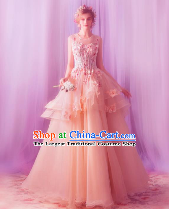 Top Grade Princess Pink Wedding Dress Handmade Fancy Wedding Gown for Women