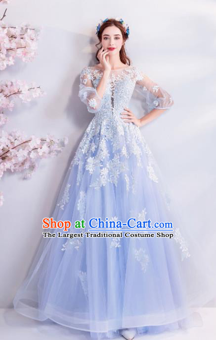 Handmade Top Grade Princess Wedding Dress Fancy Blue Lace Wedding Gown for Women
