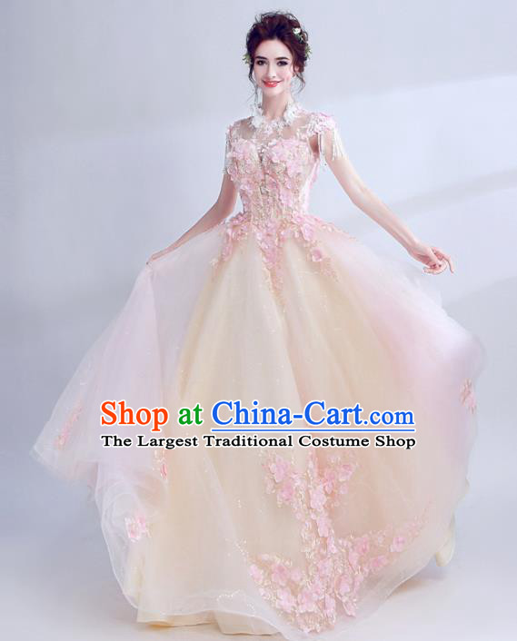 Handmade Top Grade Princess Champagne Wedding Dress Fancy Wedding Gown for Women